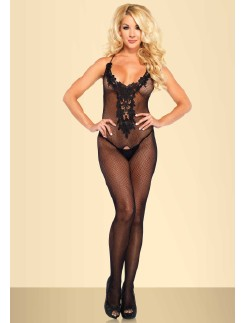Leg Avenue Net Bodystocking with embroidered Appliqu�