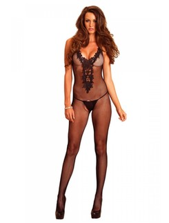 Leg Avenue Net Bodystocking with embroidered Appliqué