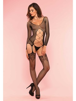 Leg Avenue  Net Suspender Bodystocking with Criss Cross Lace Up