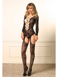 Leg Avenue  Floral Net Lace Suspender Bodystocking