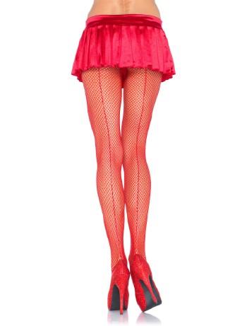 Leg Avenue Fishnet Backseam Pantyhose red