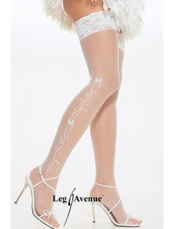 Leg Avenue Sheer Lace Top Hold-Ups with Wedding Bell and Bow De