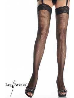 Leg Avenue Fishnet Stockings with Lace Tops