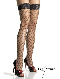 Leg Avenue Fence Net Thigh Highs with Lace Top