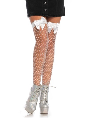 Leg Avenue Net Hold-Ups with a Bow Top without Silicon white