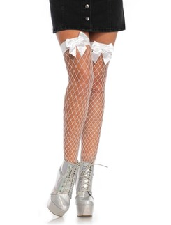 Leg Avenue Net Hold-Ups with a Bow Top without Silicon