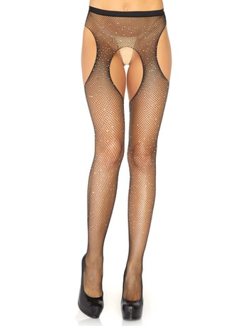 Leg Avenue crystalized fishnet suspender pantyhose black