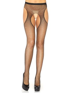 Leg Avenue crystalized fishnet suspender pantyhose