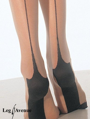 Leg Avenue Spandex Sheer Cuban Heel Backseam Pantyhose nude/black