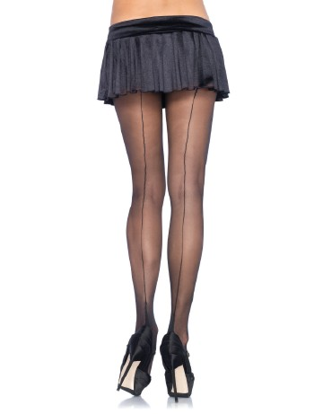 Leg Avenue Spandex Sheer Cuban Heel Backseam Pantyhose black