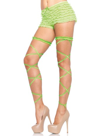 Leg Avenue Leg Garter Wrap Set neon green