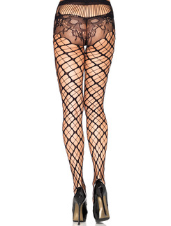 Leg Avenue Seamless Trellis Fishnet Tights with Lace Panties