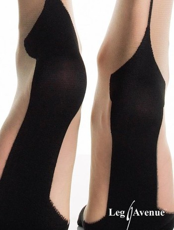 Leg Avenue Spandex Cuban Heel Stockings with Backseam