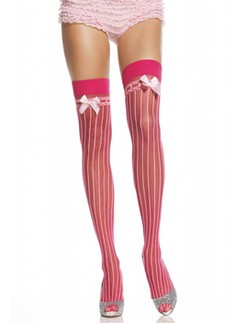 Leg Avenue Sheer Stockings with Stripes and Satin Bow