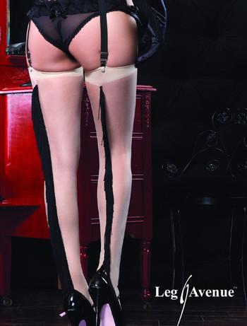 Leg Avenue Spandex Sheer Stockings with Fringe Backseam nude