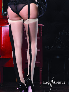 Leg Avenue Spandex Sheer Stockings with Fringe Backseam