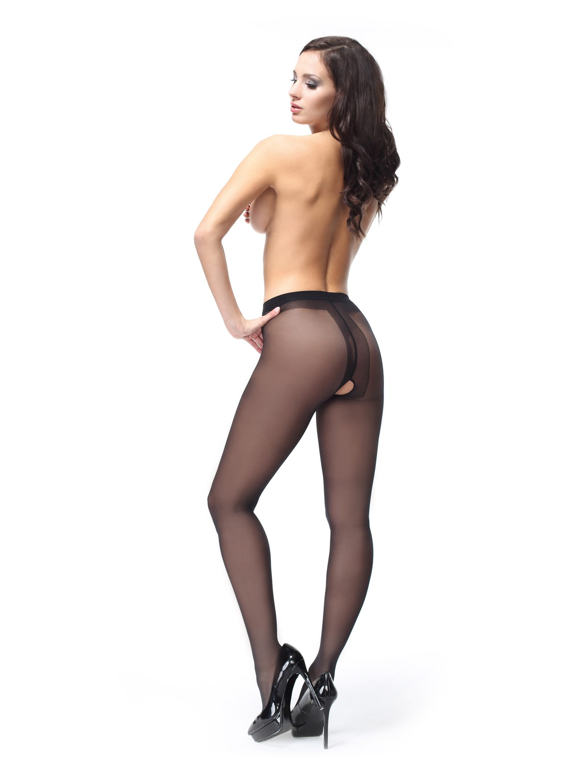 Opaque croutchless pantyhose