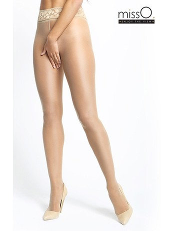 MissO Crotchless Tights with Lace Waistband beige