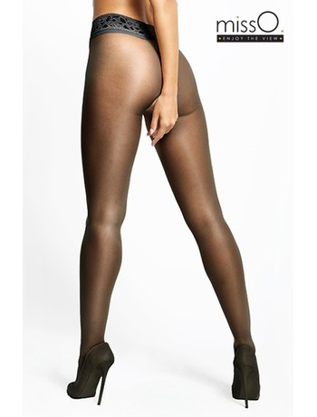 MissO Crotchless Tights with Lace Waistband black