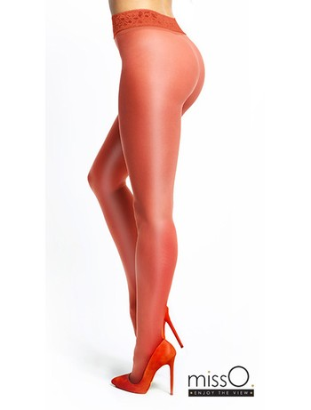 MissO Crotchless Tights with Lace Waistband red