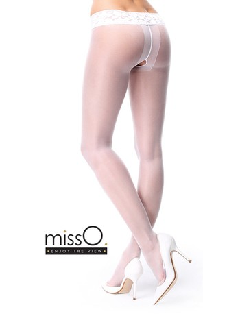 MissO Crotchless Tights with Lace Waistband white