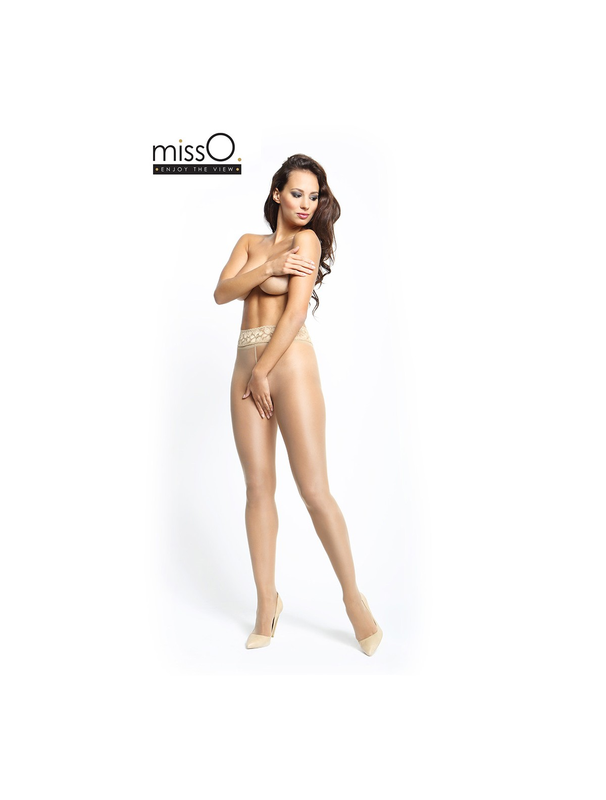 242a11591cde4 ... MissO Crotchless Tights with Lace Waistband beige ...