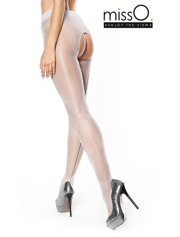 MissO  Enjoy The View Crotchless Seamed Tights silver