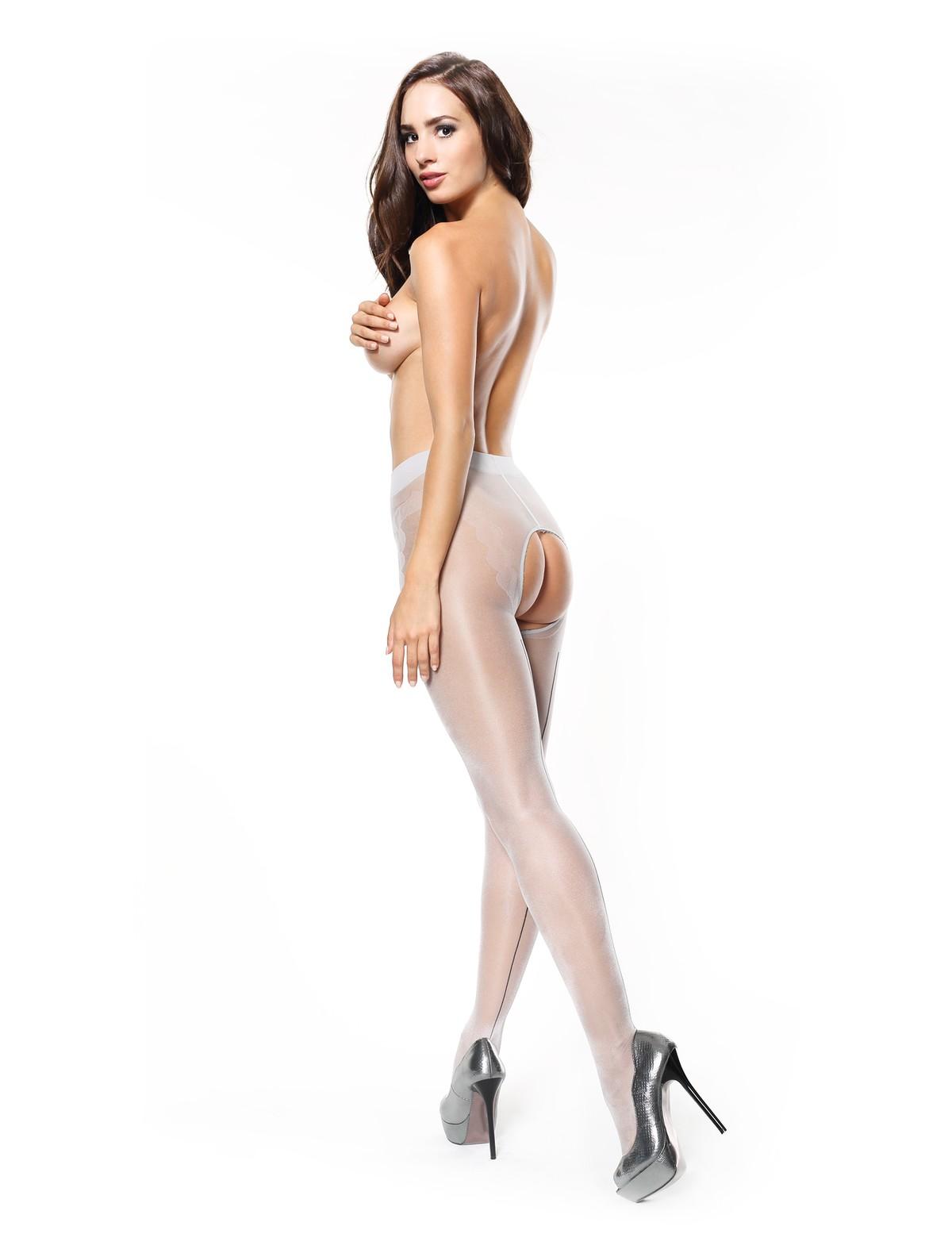 Back seam crotchless pantyhose