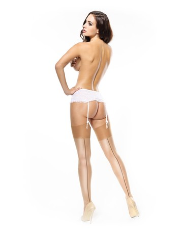 MissO Shiny Suspender Stockings beige