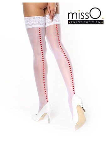 MissO Strapless Hold-Ups with Hearts white