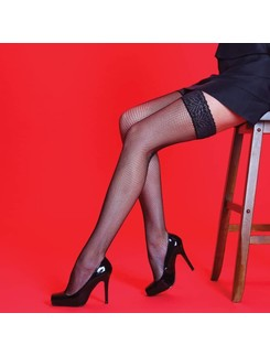 Silky Scarlet fishnet lace hold-ups