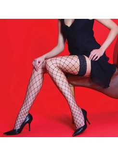 Silky Scarlet whale net lace hold-ups
