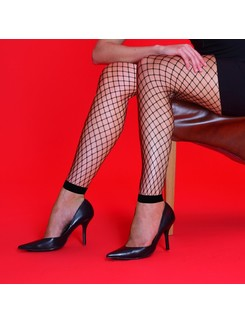 Silky medium net footless tights