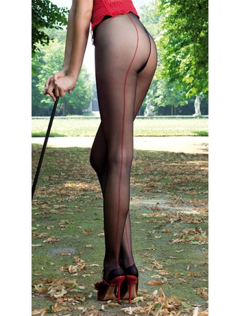 Trasparenze Jessy All the Way Back-Seamed Tights nero var. A (red seam)